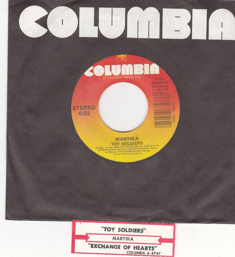 "Martika / Toy Soldiers / Exchange Of Hearts / 7"" Vinyl 45 RPM Record & Jukebox Title Strip 1988 Columbia 68747 #Pop"