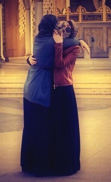 Image result for hijab girls hugging