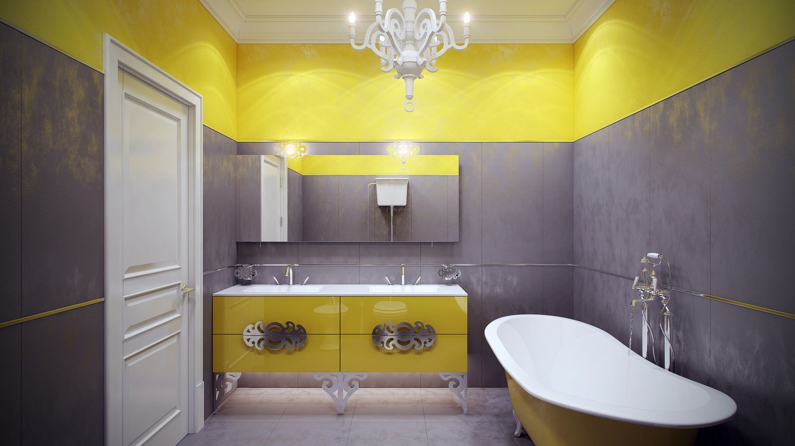 Wandfarbe Gelb Grau