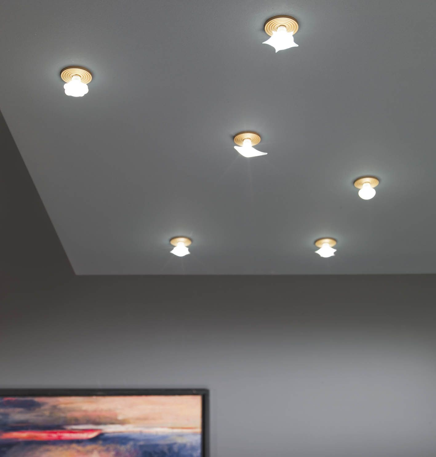 Very small recessed LED lights. & Very small recessed LED lights. Blown glass. Star Moon Sun Planet ...