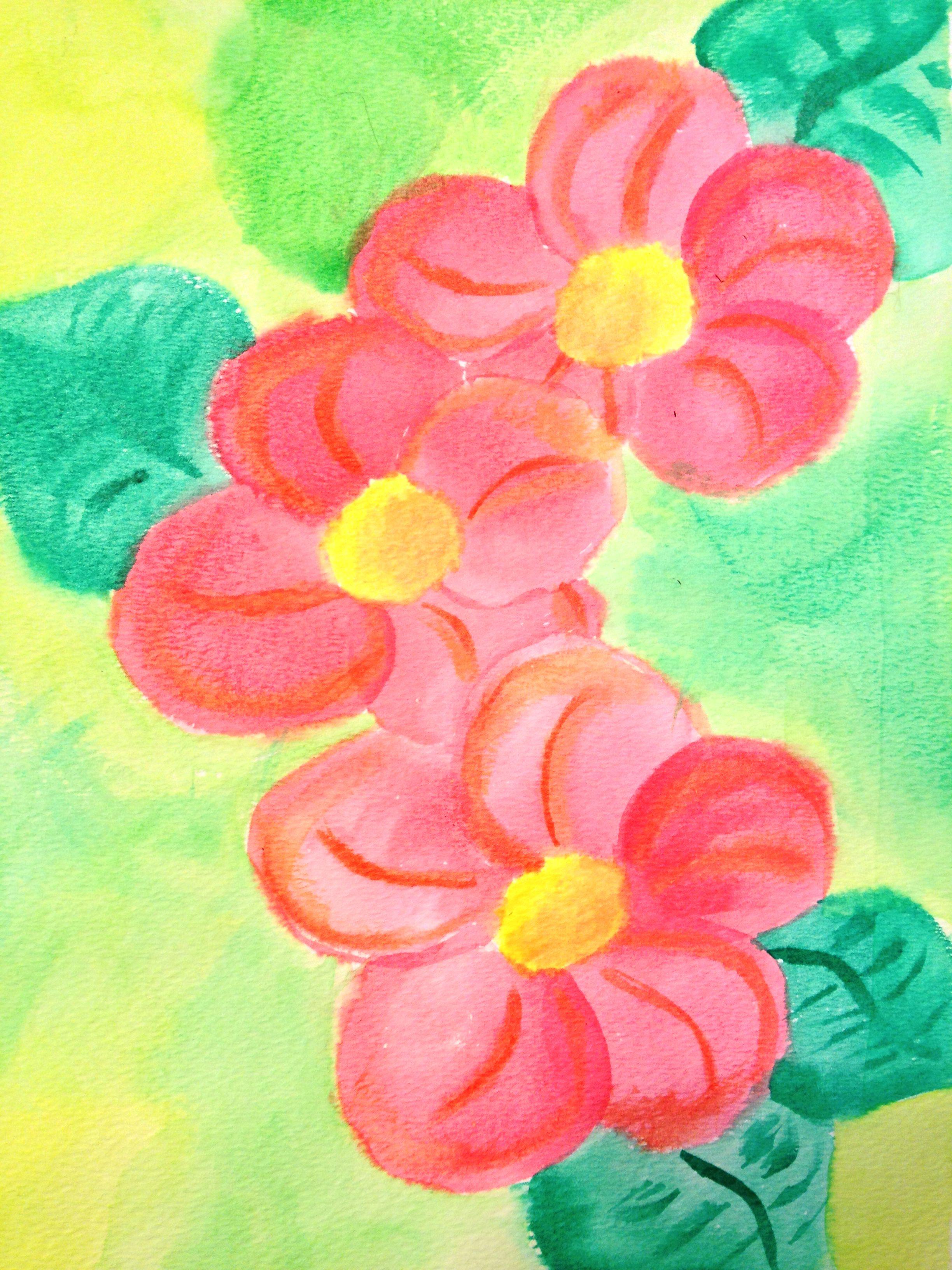cartoon flower water color painting my paintings pinterest