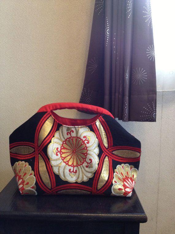 Obi Kimono Purse / BK391 Beautiful Flower Pattern by RummyHandmade,