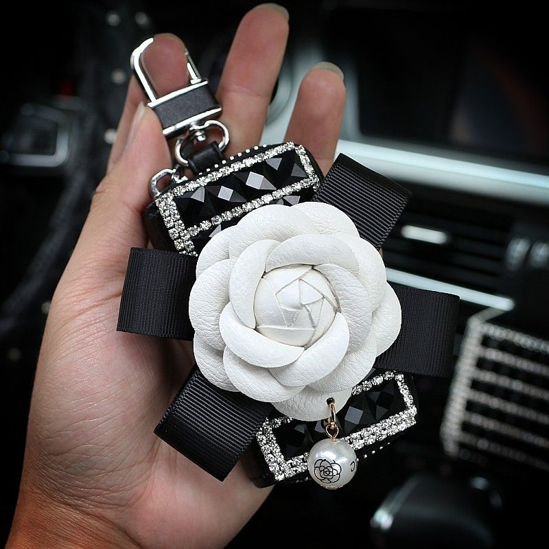 18 69 Elegant Pretty Camellia Universal Bling Leather Auto Key