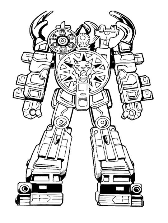 Robot Power Rangers Ready To Fight Coloring Page For Kids Robot
