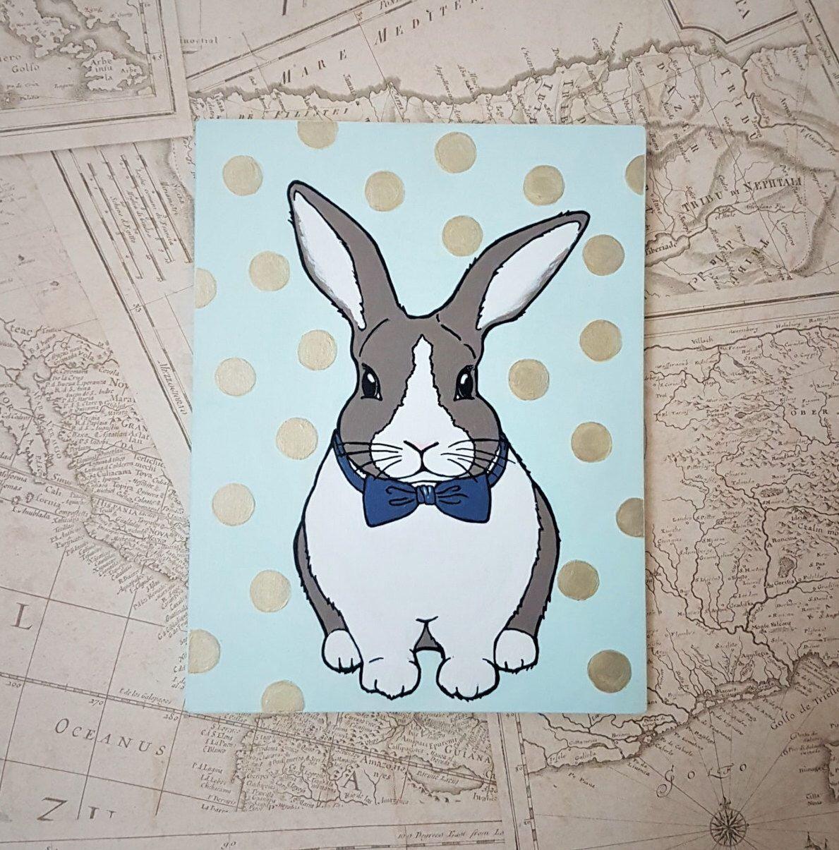 Bunny Nursery Painting Original Rabbit Art Decor Childrens Ilration Room