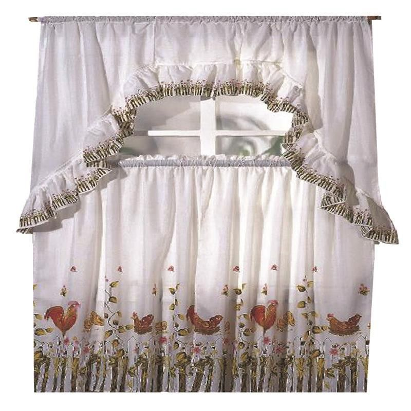 Rooster Printed Kitchen Curtain Swag Set