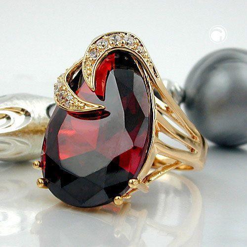 Ring, Zirkonia, gold-plattiert 3 Micron accessorize24-30066-58