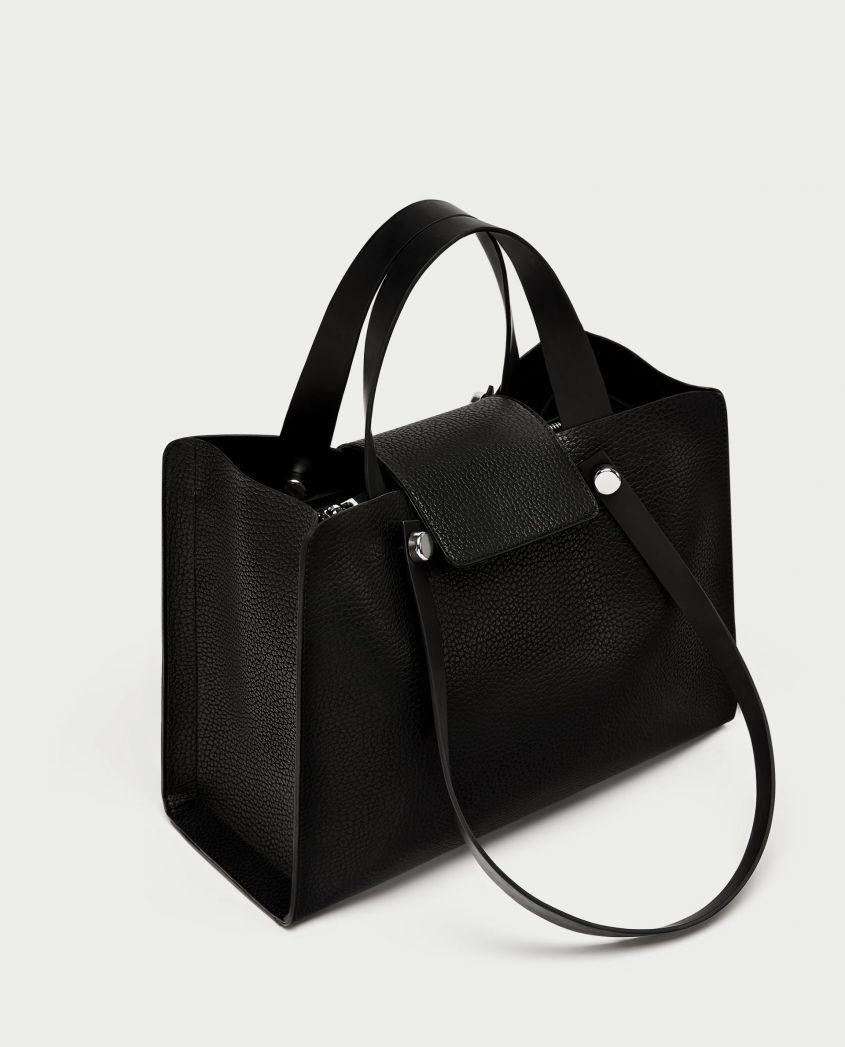City bag nera Zara collezione primavera estate 2018...❄  58cbce094af
