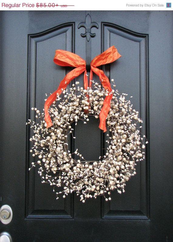 Berry Wreaths - Autumn Wreaths - Halloween Decor - Orange - Cream - halloween decorations for sale