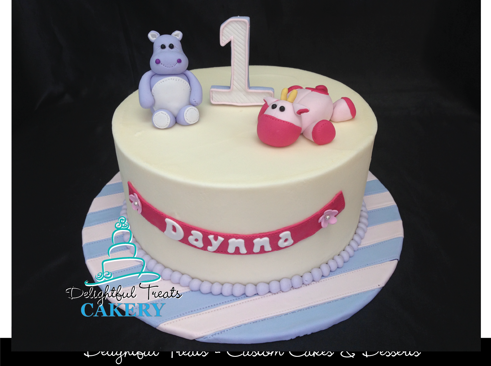 Stuffed Animal Fondant Hippo Giraffe First Birthday Cake By Delightful Treats Cakery Orlando