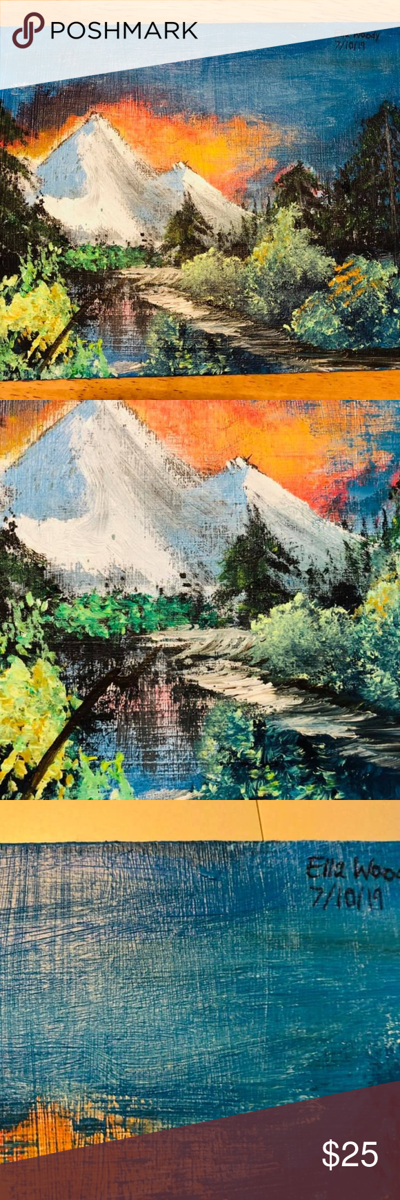 Bob Ross Inspired Canvas Painting 8x10in Canvas Painting Bob Ross Painting