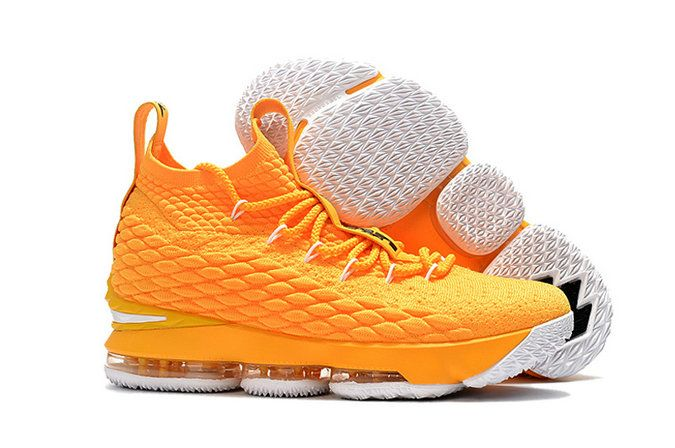 27710edfa303d4 2018 New Style Nike LeBron 15 Mens Original Basketball Shoes Sneakers  Rattan Yellow Black White