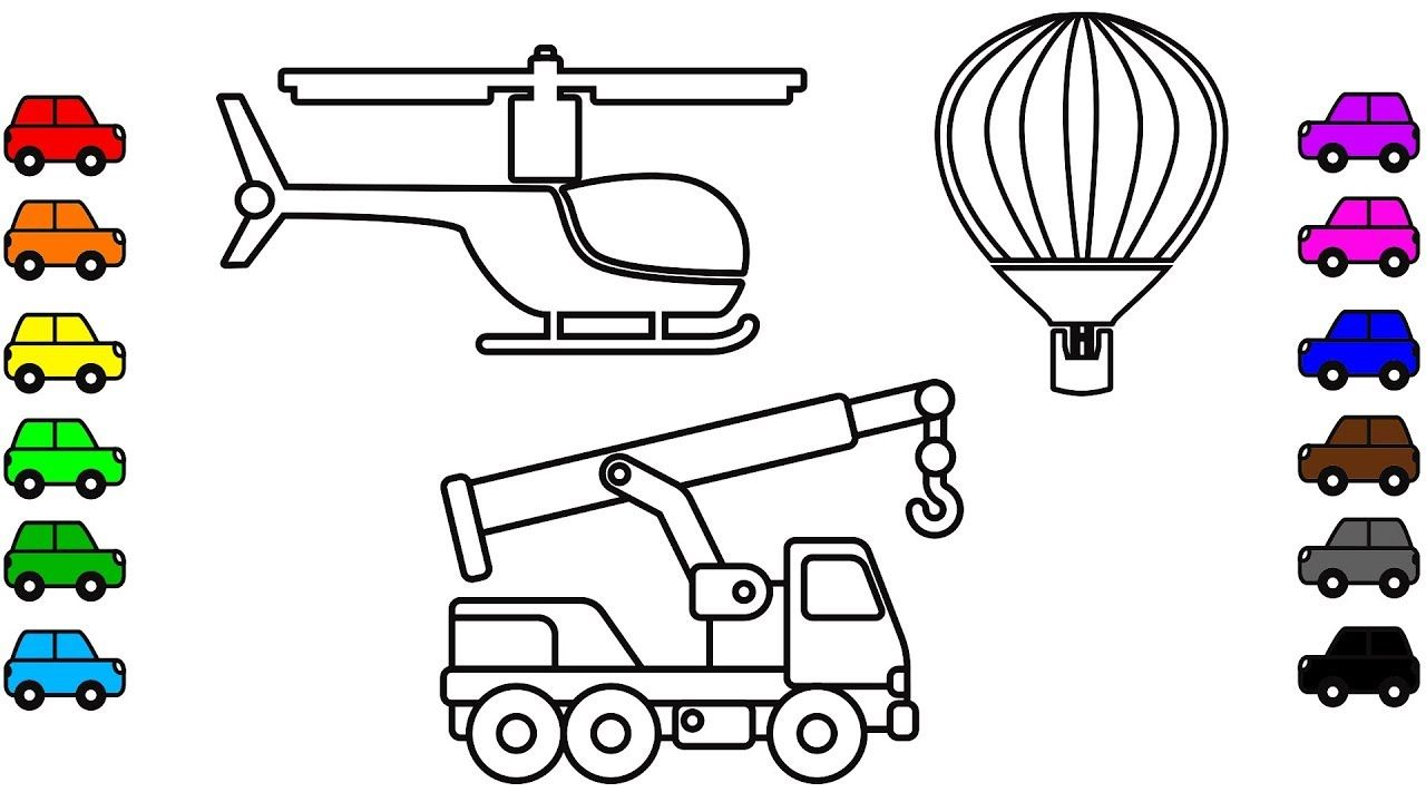 Crane truck coloring pages Construction truck and vehicles for kids