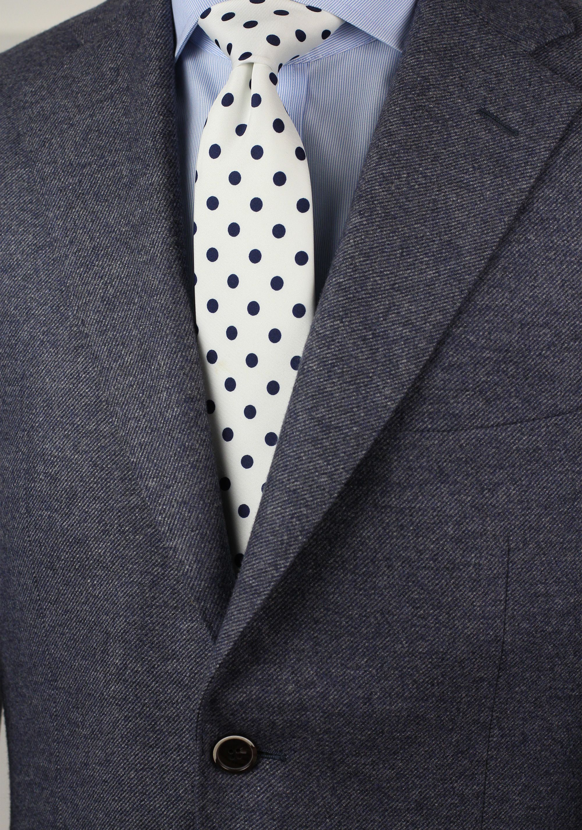 dd5ef0434d66 Trendy White Tie with Navy Blue Polka Dots | Bows-N-Ties.com in 2019 ...