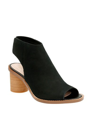 50fa9a6fd Look at this Clarks Black Suede Glacier Charm Peep-Toe Bootie by Clarks