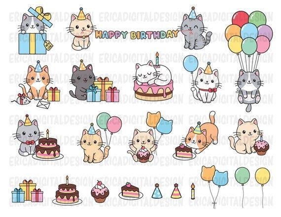Birthday Cats Clipart Cute Cat Party Clip Art Kawaii Kitten Etsy In 2021 Cat Clipart Cat Party Clip Art