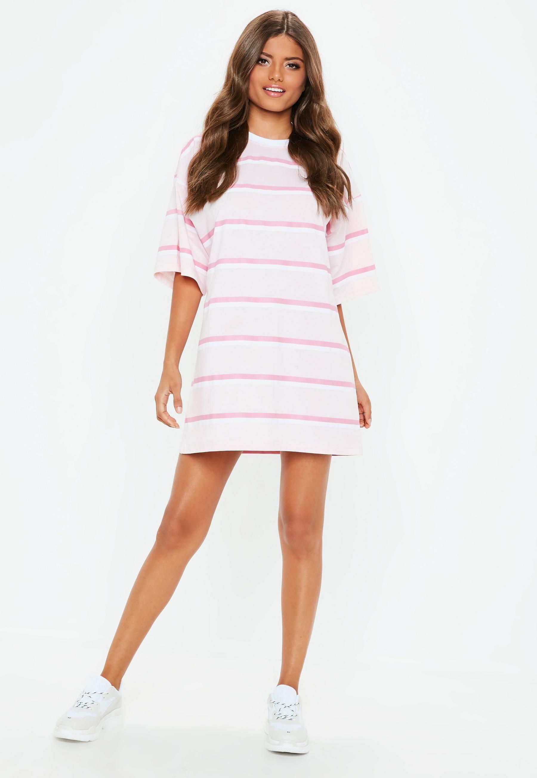 a4e55baa Pink Striped Oversized T shirt Dress   Missguided   Fkin fits ...