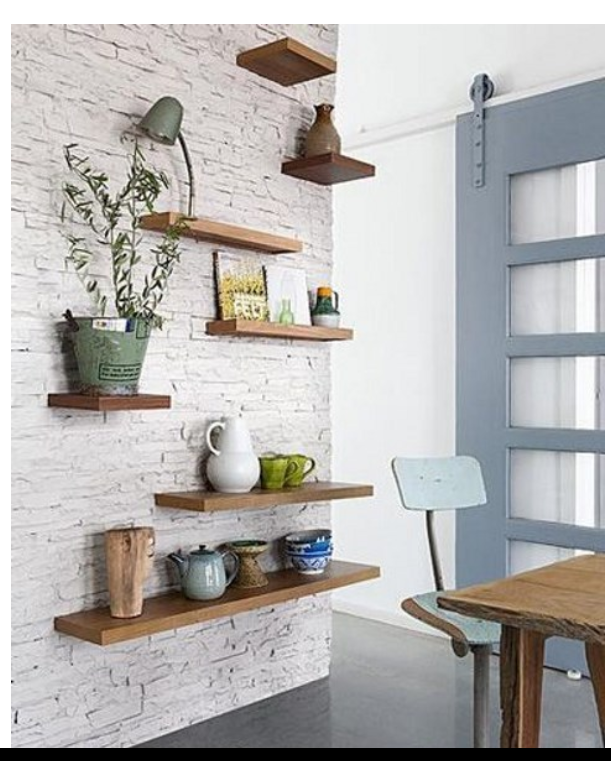 18++ Floating shelves on stone wall inspirations