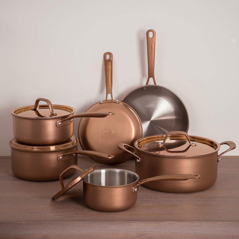 Fleischer Wolf Cookware Set 10 Pieces Stainless Steel Pots Pan Copper Pots And Pans Sets Cookware Set Copper Cookware Set