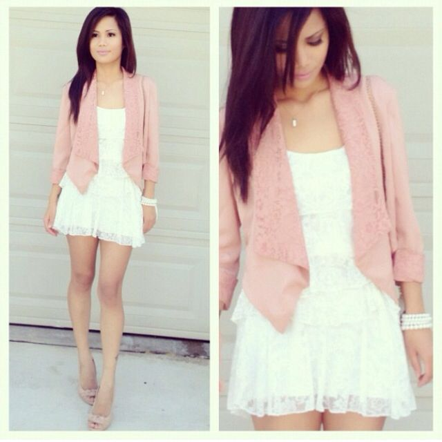 White dress, light pink blazer outfit | Outfits | Pinterest | Pink ...