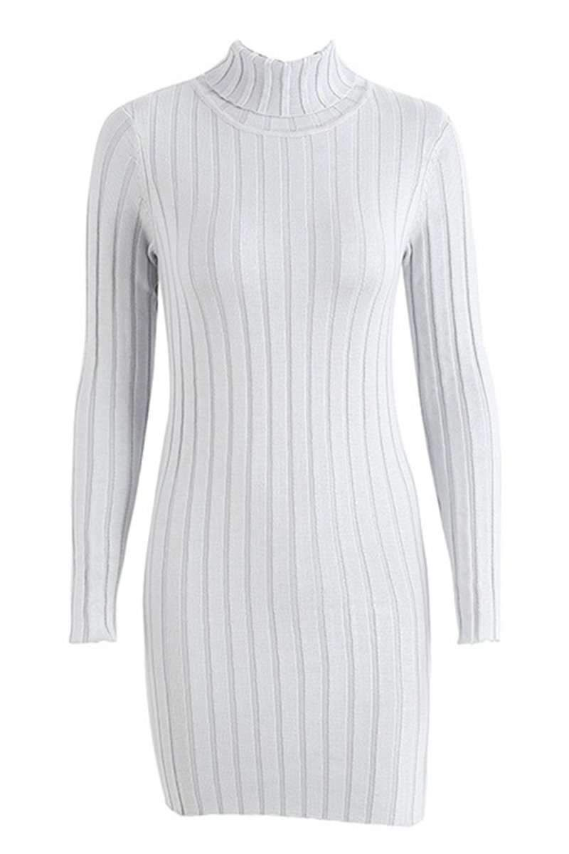 Casual turtleneck long knitted sweater dress products