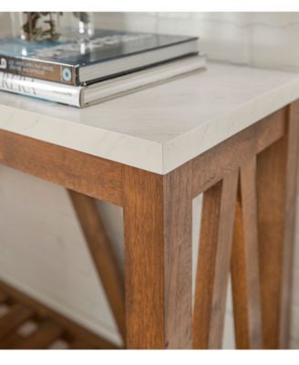 Walker Edison 52 Rustic A Frame Entry Table With White Faux Marble Top And Walnut Base Reviews Home Macy S Marble Console Table Console Table Rustic Entry