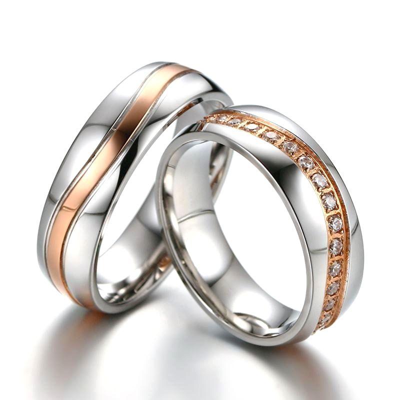 Luxury Cz Stones Wedding Rings Band For Women Men Wave Line