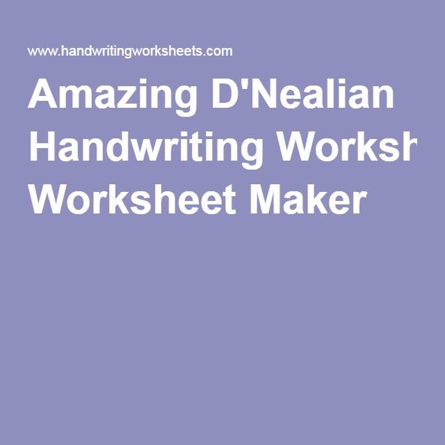 Amazing Dnealian Handwriting Worksheet Maker Kindergarten