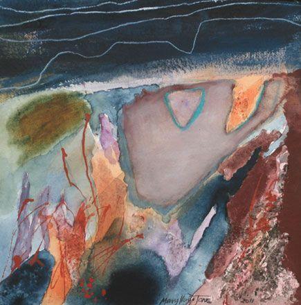 Cwmystwyth Mine, Satellite Image / Gwaith Cwmystwyth, Delwedd Lloeren  Mary Lloyd Jones RCA  Mixed media 2012  38 x 38 cm