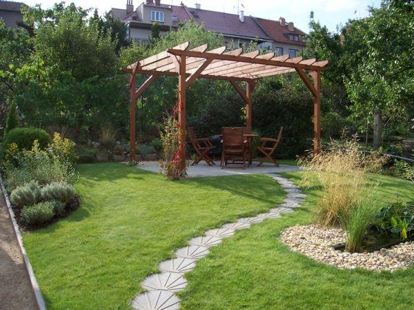 Garten Laufweg Fliesen Beton Gras