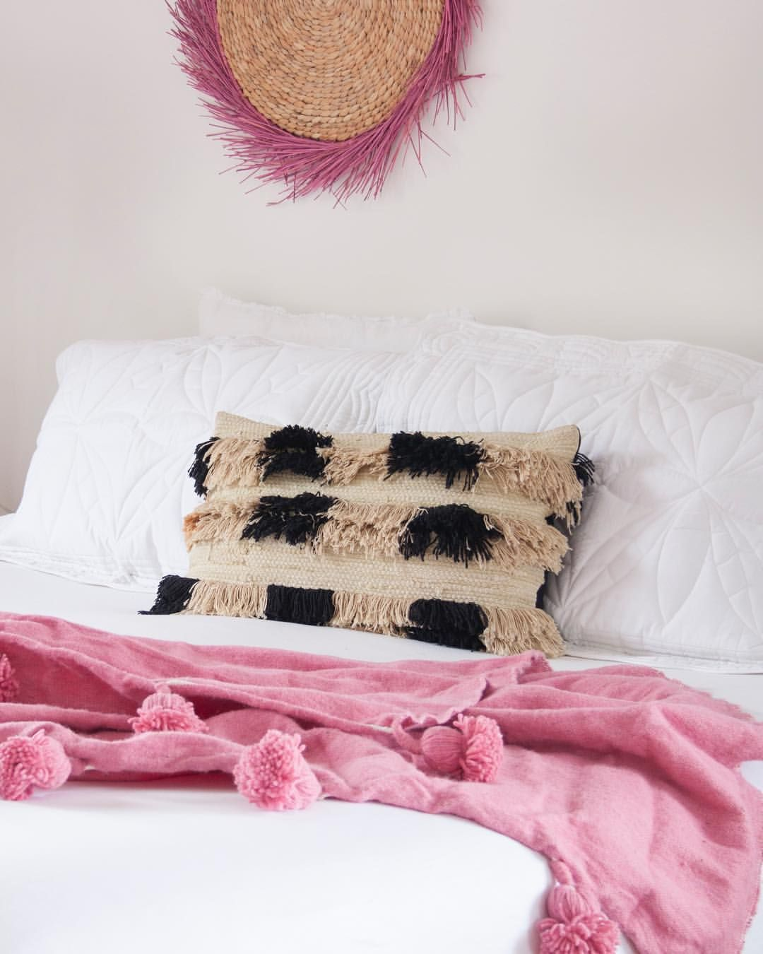 Pink boho bedroom with a cosy wool pink Moroccan throw blanket ...