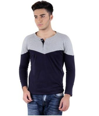 Specifications of Bigidea Solid Men's Henley Grey, Dark Blue T-Shirt T-SHIRT DETAILS Sleeve Full Sleeve Number of Contents in Sales Package Pack of 1 Fabric Cotton Type Henley Fit Regular GENERAL DETAILS Pattern Solid Ideal For Men's Occasion Casual To get this product go to offer page. Share this Post