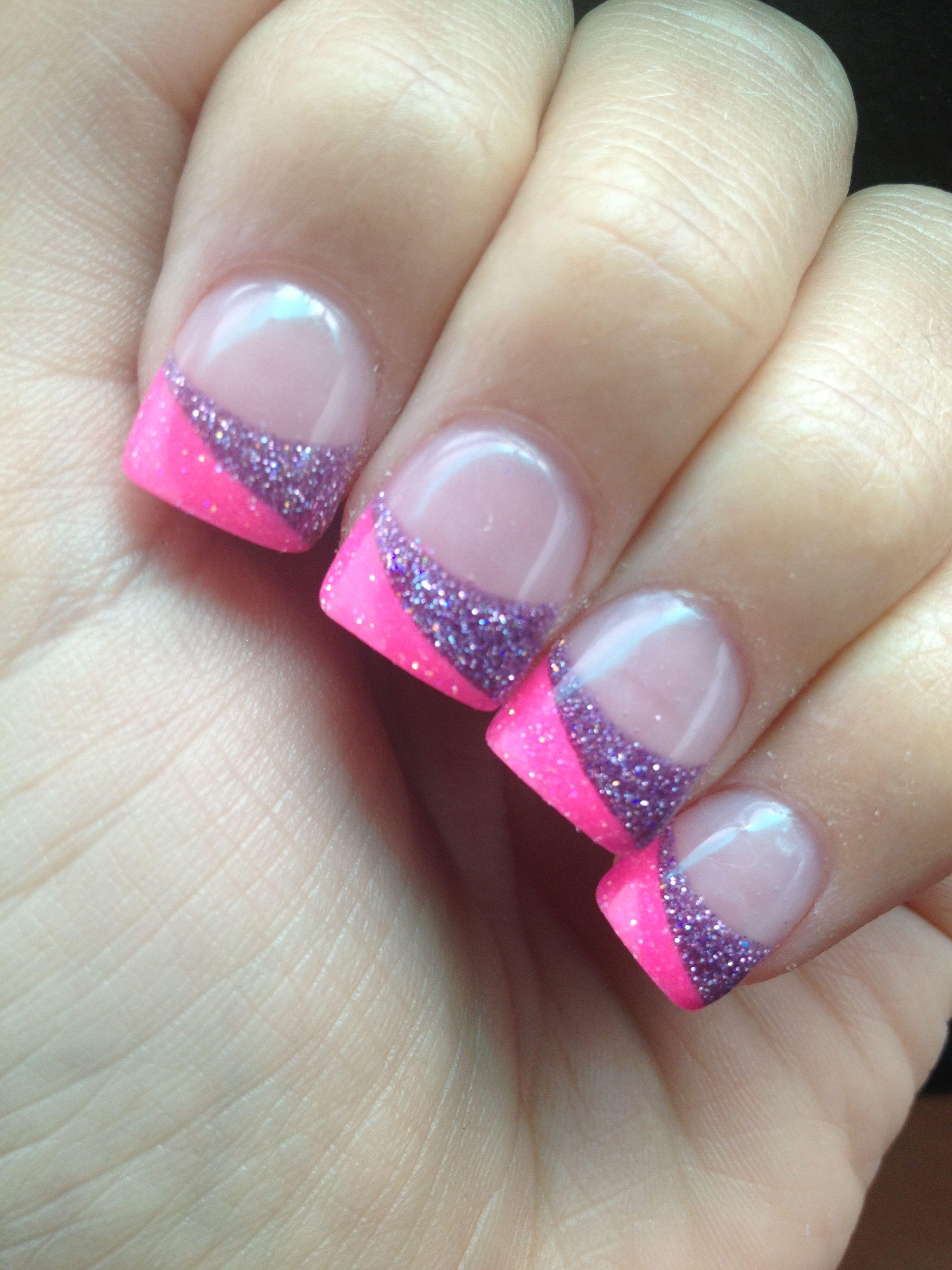 Split tip pink and purple sparkley acrylic nails half pink half