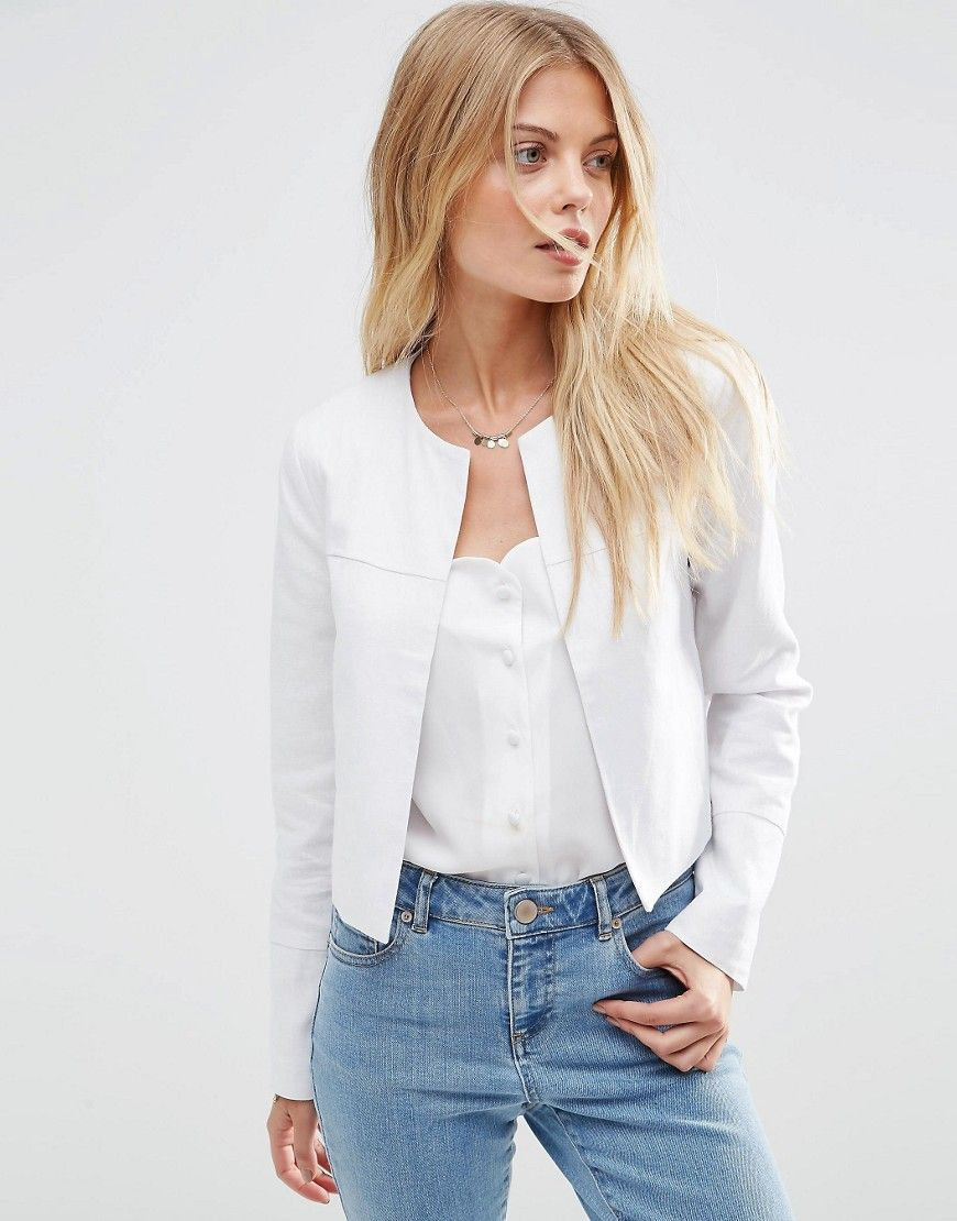 06cd9ec76e ASOS Crop Blazer in Linen
