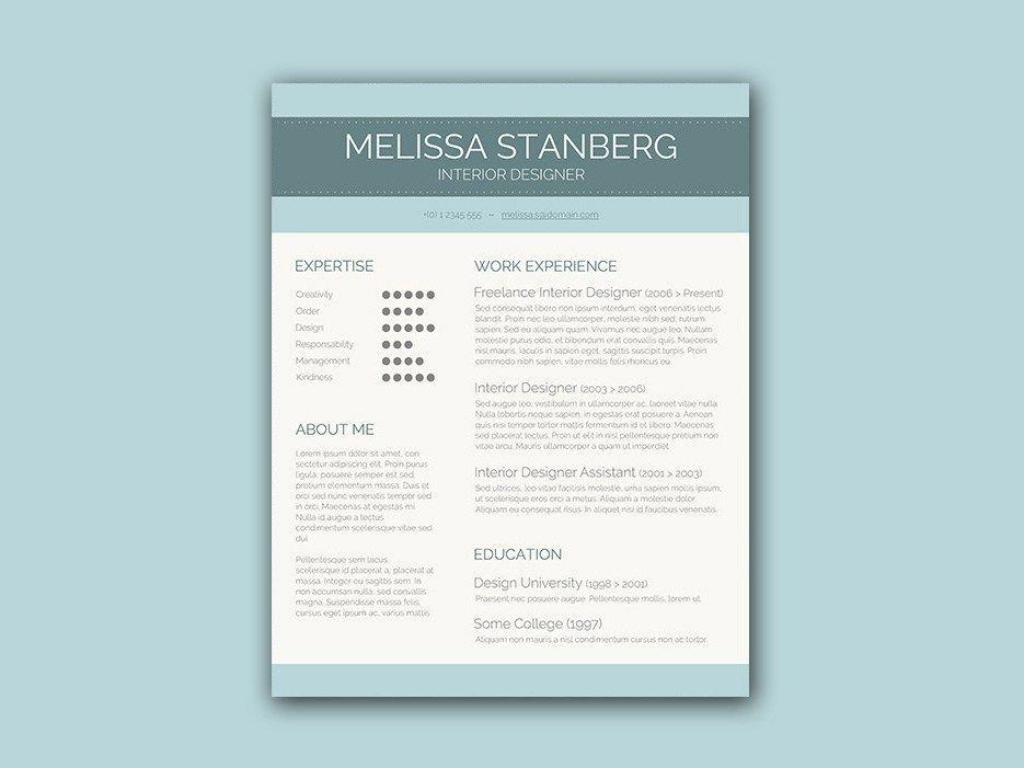 Free resume template for interior designer in 2020
