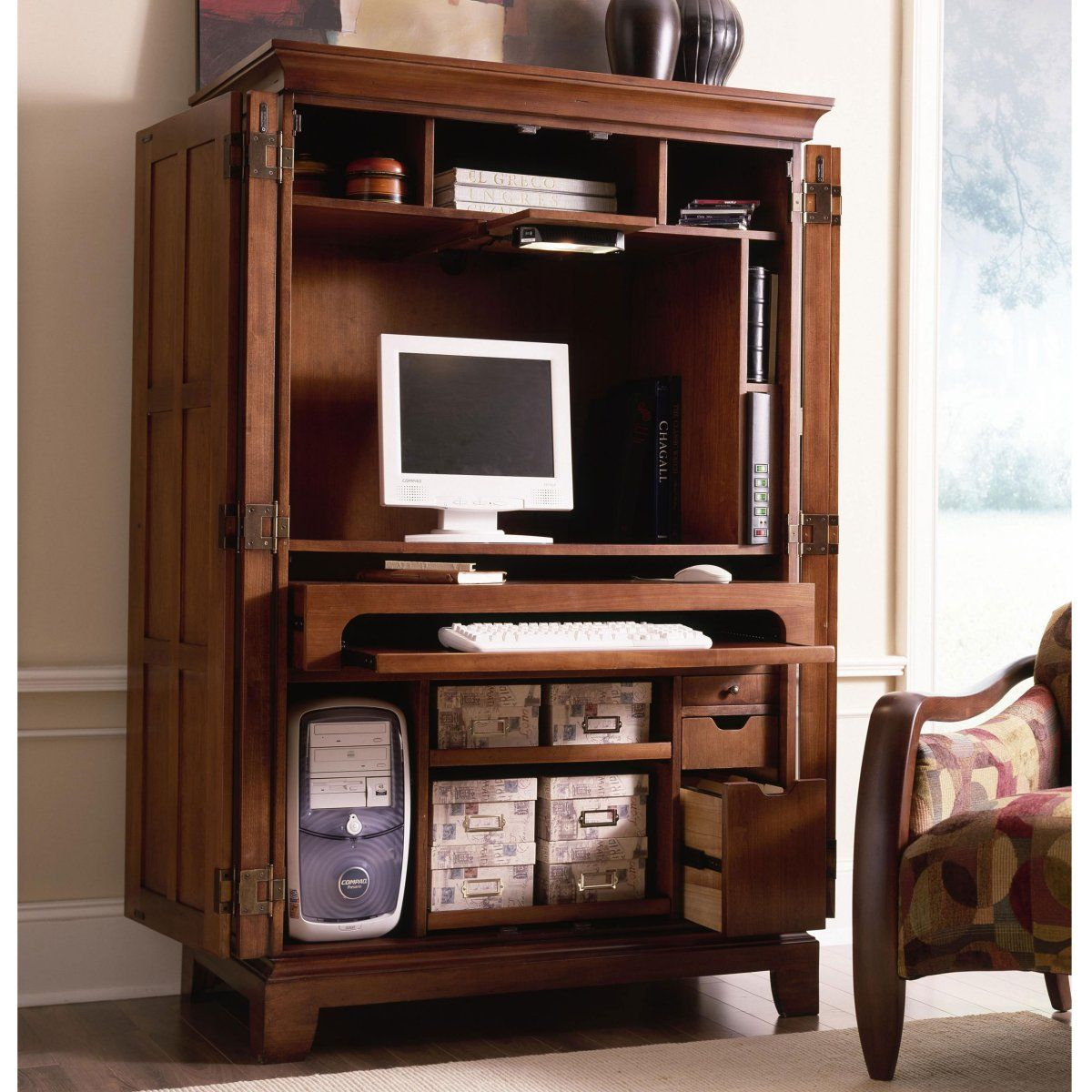 office armoire. Riverside American Crossings Computer Armoire - Fawn Cherry Office