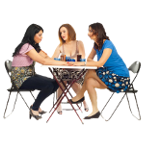 Two Women Comforting Their Friend And All Sitting At Table Over