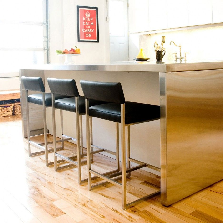 Superb Kitchen : Fantastic Wood Counter Stools Design Ideas With Black Leather Bar  Stool Also Grey Metal