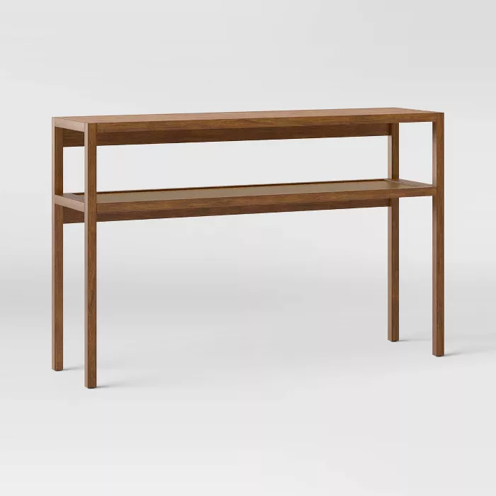 Warwick Narrow Console Table With Shelf Brown Threshold In 2020 Narrow Console Table Console Table Wooden Console Table