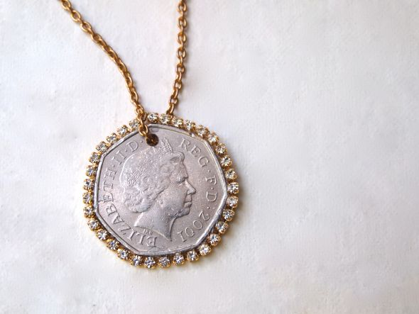 Glitter N Glue Diy Coin N Rhinestone Pendant Necklace Jewelry