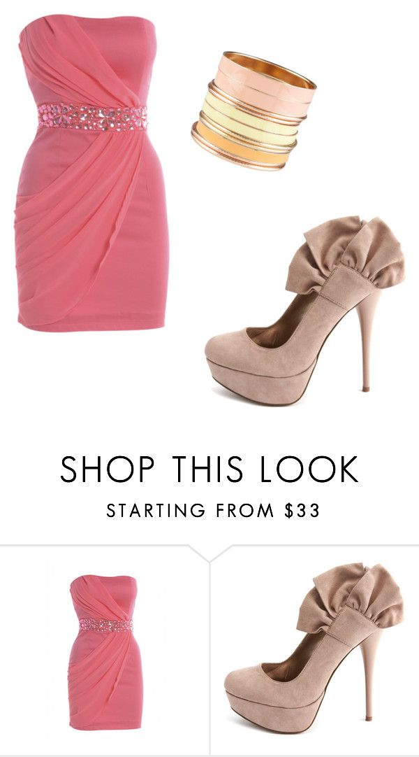 """""""pink and nude"""" by reganstegall ❤ liked on Polyvore featuring AX Paris, Charlotte Russe and ALDO"""