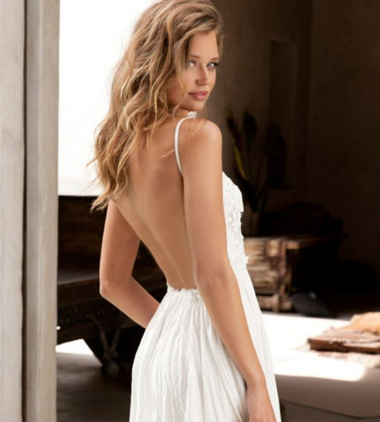 White Backless Dresses Photo Album - Reikian