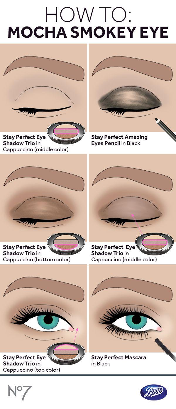 Learn How To Create A Warm Mocha Eye With Our No7 Stay Perfect Eye Trio In Cappuccino Perfect Eyes Eyeshadow Grey Smokey Eye