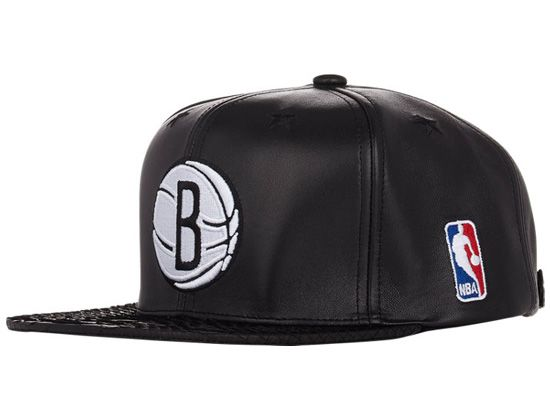 72b3d40e2e2 Black Leather Brooklyn Nets Strapback Cap by JUST DON x MITCHELL   NESS
