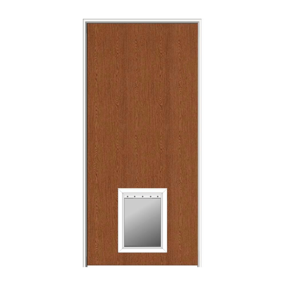 Bon MMI Door 32 In. X 80 In. 1 3/4 In. Thick Flush Right Hand Solid Core  Unfinished Red Oak Single Prehung Interior Door W/ Pet Door Z0364451R   The  Home Depot