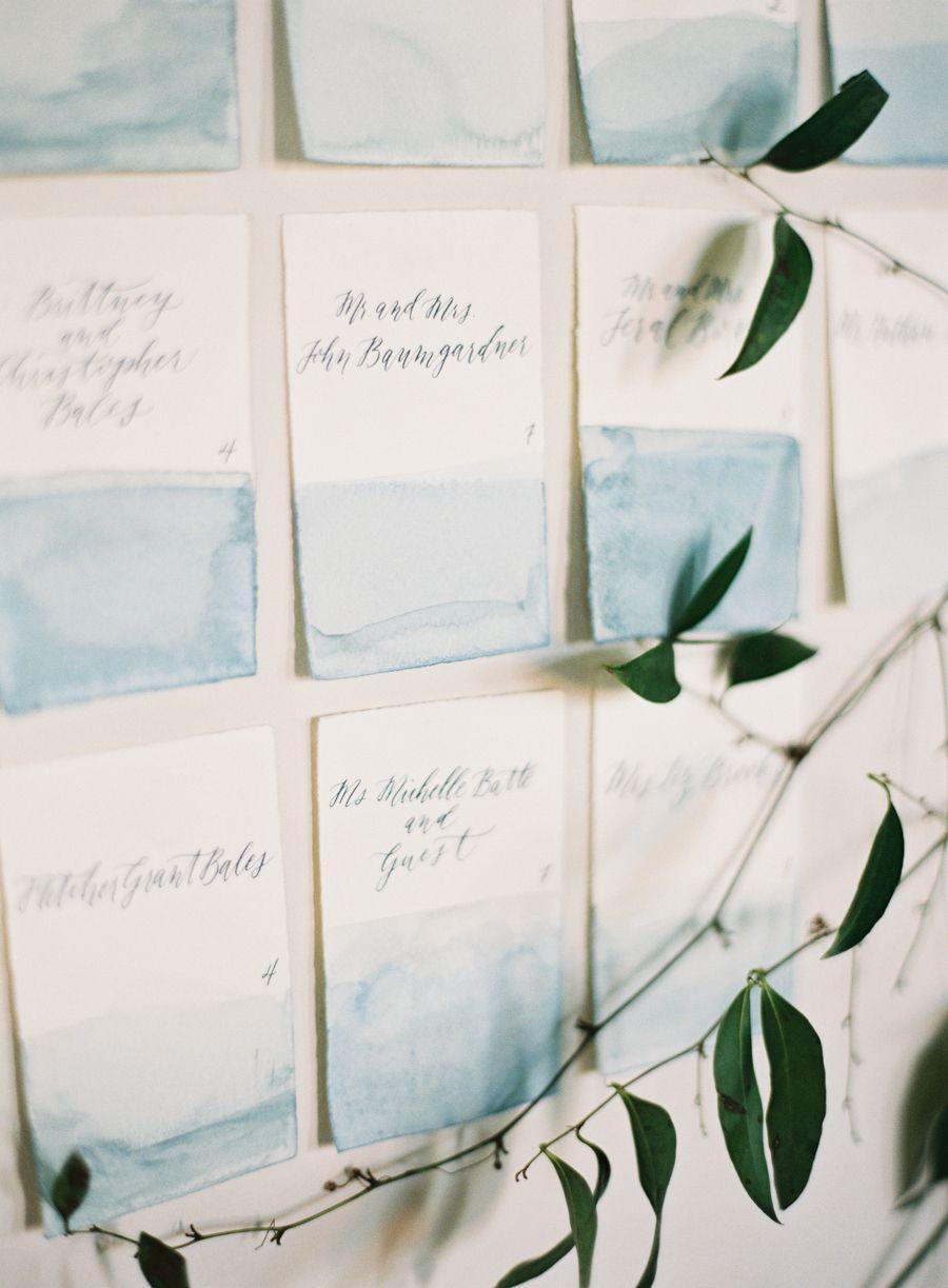 #escort-cards, #watercolor, #stationery, #blue Photography: Jessica Lorren Organic Photography - jessicalorren.com Reception Venue: The Cordelle - TheCordelle.com Invitations: Early June - www.early-june.com/ Event Design: Jessica Sloane - jessicasloane.com
