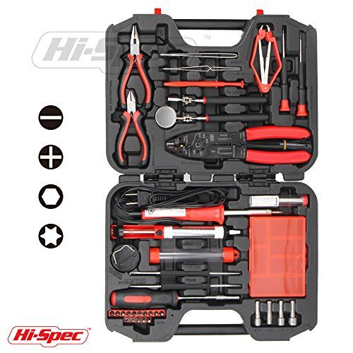 Hi Spec 60 Piece Computer Electronics Repair Maintenance And Upgrade Hand Tool Kit Including A 30 Watt Soldering Iron And A Complete Set Of Precision Hand Too Electrical Tools Soldering Iron Electronics Tools