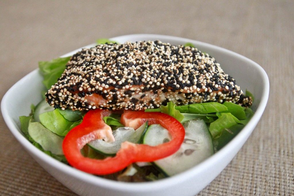health black and white sesame baked salmon recipe