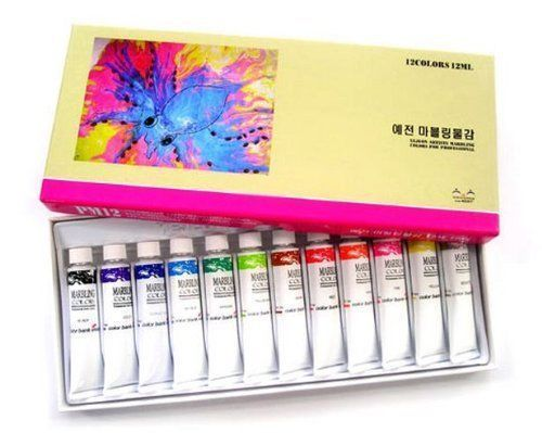 Yejeon Water Marbling Paint 12 Colors Tube Set 12ml Marble Kit Water Marbling Oil Painting Supplies Kit Stationery