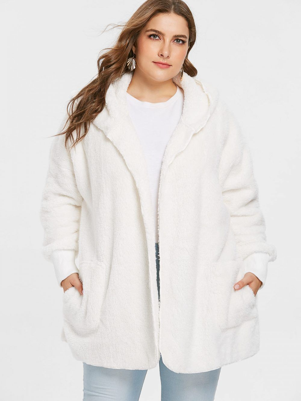 78dfb20789241 Women Fashion Women Plus Size Collarless Soft Faux Fur Coat Casual Solid  Loose Fit Jacket Coat